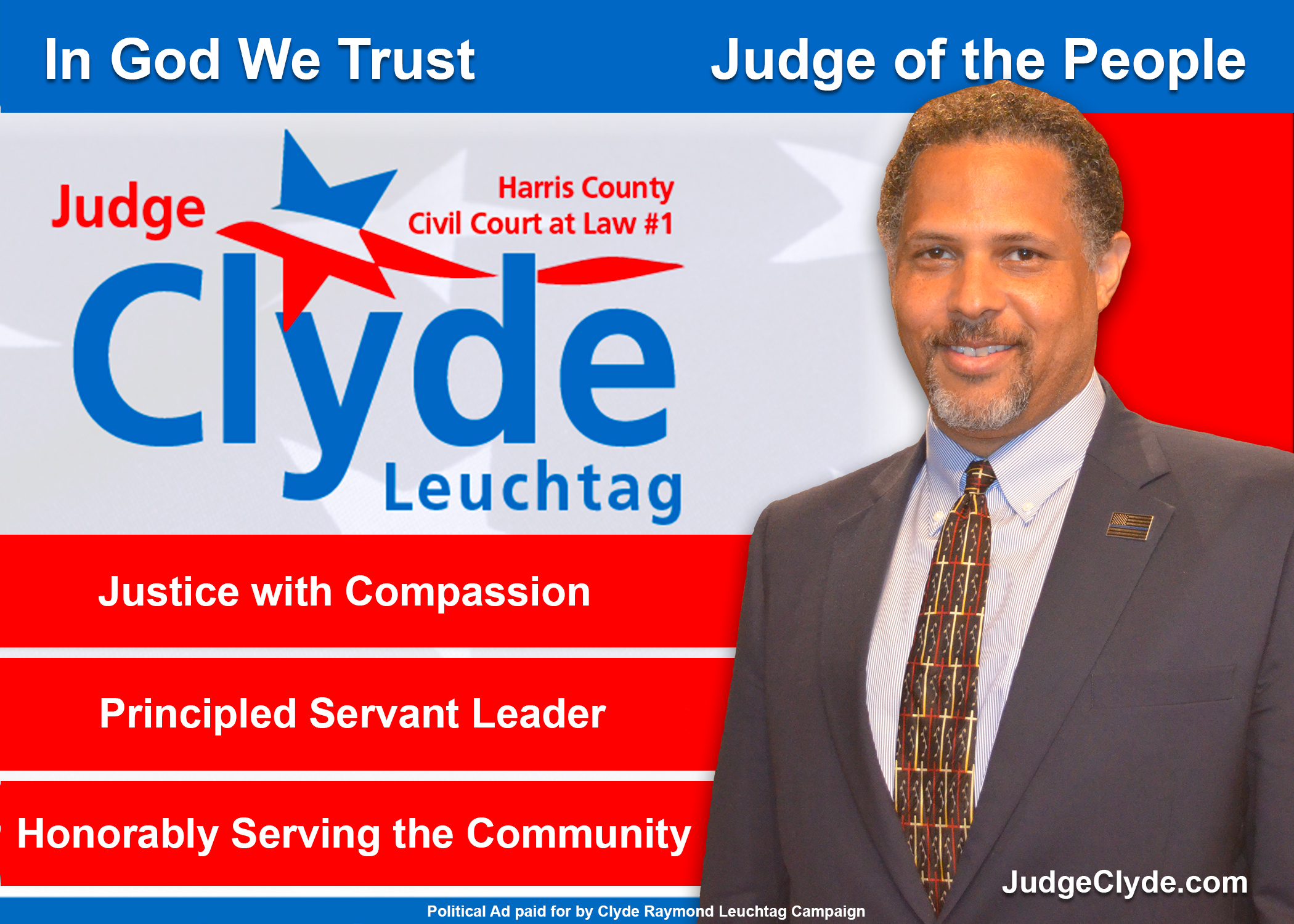 Re-Elect Judge Clyde Raymond Leuchtag to County Civil Court at Law #1 Houston